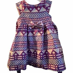 Pippa & Julie Metallic Bow Geo Brocade Dress 3T